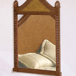 International Caravan - International Caravan Nigel Carved Wooden Mirror - This Nigel mirror features elegantly carved wood accented with stylish woven rattan. This mirror makes the perfect addition to any room.
