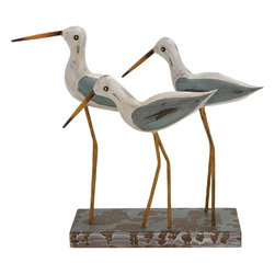 "Benzara - Fascinating Styled Wood Metal 3 Birds On Stand - Introducing this classy wood metal 3 birds on stand that will be a creative addition to your room space. Made of quality wood and metal these 3 birds on stand is durable and easy to maintain. Polished in white, yellow and greenish grey color palette this wood metal birds on stand support all kinds of interiors. You can add this wood metal 3 birds on stand decor to your living space, spacious showcase, place on a dark table top, corners of your room else any place of your choice.Guests and other viewers will surely love to see this wonderful metal floor easel. Guests paying a visit to your place will be surprised to check out this wonderful styled wood metal 3 birds on stand. You can also gift wood metal 3 birds on stand to your dear ones. Check out this classic wood metal 3 birds on stand and get it right away. Wood Metal 3 Birds On Stand measures 21 inches (W) x 7 inches (D) x 18 inches (H); Made of quality metal; Durable construction; Dimensions: 9""L x 8""W x 13""H"