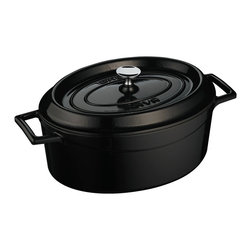 Lava Metal Dokum San. Tic. A.S. - Lava Signature Enameled Cast Iron 4.5 Qt. Oval Dutch Oven, Obsidian Black - Lava's Signature Oval 4-1/4 Quart capacity Dutch Oven's cooking area is 10-1/2 inches long, 8-1/4 inches wide and 6 inches tall and made expressly for creating family sized amounts of delicious culinary goodness. This modern oven is perfect for soups and stews, roasting duck and chicken, slow cooking beef and pork or baking delicious delicate casseroles. It comes in many beautiful colors.