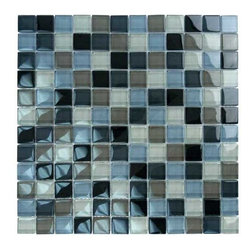 "Glass Tile Oasis - Black Charcoal Gray Taupe Blend 1"" x 1"" Grey Crystile Blends Glossy Glass - Sheet size:  12"" x 12""        Tile Size:  1"" x 1""        Tiles per sheet:  144        Tile thickness:  1/4""        Grout Joints:  1/8""        Sheet Mount:  Mesh Backed        Sold by the sheet        -  Our Crystile Series offers a wide range of hues to suit your mood and your style! The vibrancy and depth of our crisp smooth glass results in a unique and dramatic effect for use in both residential and commercial installations.  The Crystile Series is virtually limitless in its range of applications and is suitable for the following walls backsplashes and any area just waiting to be transformed by light and color! Our sheets of mesh-mounted glass can be used to produce and endless variety of field patterns borders and medallions. This Series is ideal for use alone or as an exquisite complement to ceramic and natural stone materials. Let creativity be your guide. Crystile tiles are are easy to clean and maintain. Our tiles will never discolor and will continue to provide a smooth and luxurious appearance for many years to come."