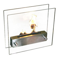 Nu-Flame - Nu-Flame Irradia, Stainless - Modern in every sense of the word, Irradia is our most popular tabletop fireplace. A brushed stainless steel burner floats between two tempered glass panels making the fire visible from every angle. The linear burner creates a ribbon of fire that dances and drifts producing an almost hypnotic appearance.