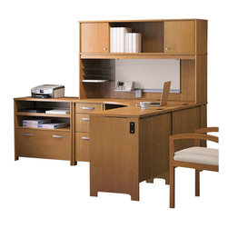 Bush - Bush Envoy L-Shaped Office Suite in Natural Cherry - Bush - Modular Office Configurations - ENVPKG3 - Bush Envoy Wood Return in Natural Cherry (included quantity: 1) Connect the Bush Envoy Desk Return to your Envoy Corner Desk to create a space-efficient L desk. Bush's Envoy collection is an essential part of any professional office suite. Features: