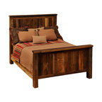 "Fireside Lodge - Fireside Lodge Traditional Reclaimed Barnwood Bed, Full Size - Reclaimed Barnwood Bed - Full Size. You've  been  shopping  for  the  perfect  reclaimed  barnwood  bed  for  a  long  time,  and  this  traditional  style  rustic  barnwood  bed  just  might  be  the  thing  you've  been  searching  for.  Simple,  rustic,  understated,  and  stylish,  this  no-nonsense  design  features  a  headboard  and  footboard  handcrafted  with  natural  red  oak  barnwood  planks  salvaged  from  a  barn  built  sometime  in  the  1800's.  Each  plank  is  carefully  color-matched  and  placed  so  that  the  side-by-side  boardwalk  look  will  offer  a  variety  of  neutral  hues  and  color  tones.  Framed  with  sturdy  oak  post  legs,  this  bed  has  a  dull  catalyzed  lacquer  finish.  Extra  durable,  the  lacquer  will  help  protect  your  bed  for  generations.  Made  from  a  totally  recycled  resource,  this  is  the  ultimate  eco-friendly  rustic  bed.          For  additional  under-bed  storage,  consider  adding  an  underbed  dresser  with  drawers.                  Dimensions  vary  according  to  size.  (See  chart  below)              Sturdy  hardwood  rails              T-support  to  help  distribute  weight  evenly  is  standard  in  King  and  Queen  sizes              Headboard:  60  inches  high              Footboard:  35  inches  high              Limited  lifetime  guarantee              Choose  from  antique  oak  or  vintage  cedar  finish  stain  colors              This  barnwood  bed  is  available  as  a  complete  bed,  a  platform  bed,  or  headboard  only              Free  curbside  shipping  in  lower  48  states.  Upgraded  shipping  available.                                  Complete  Standard  Reclaimed  Barnwood  Bed                                    Size                      Model                      Dimensions                      Weight                      Price                                      King                      B10010                      83Wx91Lx60H                      290                      1669.00                                      California  King                      B10010-CK                      77Wx96Lx60H                      490                      2149.00                                      Queen                      B10040                      65Wx91Lx61H                      255                      1439.00                                      Full  (Double)                      B10070                      59Wx86Lx60H                      225                      1379.00                                      Twin  (Single)                      B10100                      44Wx86Lx60H                      185                      1319.00                                               Complete  Platform  Bed  -  (mattress  rests  on  a  raised  barnwood  platform  -  no  footboard)                                    Size                      Model                      Dimenisons                      Weight                      Price                                      King                      B10010-PF                      83Wx89Lx53H                      490                      2149.00                                      California  King                      B10010-CK-PF                      77Wx94Lx55H                      495                      2149.00                                      Queen                      B10040-PF                      65Wx89Lx53H                      425                      1959.00                                      Full  (Double)                      B10070-PF                      59Wx84Lx53H                      375                      1879.00                                      Twin  (Single)                      B10100-PF                      44Wx84Lx53H                      315                      1769.00                                               Headboard  Only  (Includes  Rails)                                    Size                      Model                      Dimensions                      Weight                      Price                                      King  Headboard                      B10020                      83""Wx60H                      175                      919.00                                      California  King  Headboard                      B10020-CK                      77""Wx60H                      180                      919.00                                      Queen  Headboard                      B10050                      65""Wx60H                      160                      789.00                                      Full  (Double)  Headboard                      B10080                      59""Wx60""H                      145                      759.00                                      Twin  (Single)  Headboard                      B1011                      44Wx60H                      125                      719.00"