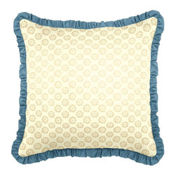 """Blue & Gold Throw Pillow - Loom Decor Ruffle Throw Pillow - 18"""" Square in Fine & Dandy - Gilt and Strong Twilled - Pool"""