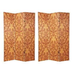 """Oriental Furniture - 6 ft. Tall Double Sided Damask Room Divider - A uniquely attractive three panel room divider, crafted from canvas covered wood framed panels, with a beautiful, distinctive old world wall paper pattern printed onto the canvas. The large dark medallions on the light background are elaborated variations of the classic """"fleur-di-lis"""" design, often translated as """"lily flower"""", popular in ancient France, Spain, Belgium, and Holland."""