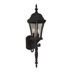 Exteriors - Exteriors Cast Aluminum Curved Glass Outdoor Wall Sconce - Large X-50-043Z - Ideal for colonial or traditional style homes the Craftmade Cast Aluminum Curved Glass Outdoor Wall Sconce displays a large lantern and gorgeous decorative elements on the arm and rod of the fixture. These lanterns are ideal since they require little to no maintenance they are durable and powder coated and are highly decorative.