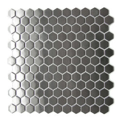 "Eden Mosaic Tile - Honeycomb Hexagon Mosaic Stainless Steel Tile, Sample - This unique honeycomb hexagon pattern mosaic stainless steel tile is ideal for use on kitchen back splashes accent walls fireplaces bathroom borders and more. The modern honeycomb design is best used in contemporary dcor applications that require a modern edgy but minimalist tile pattern design. The tiles in this sheet are mounted on a nylon mesh which allows for an easy installation. Tiles are 1.0""x1.0"". Imported."