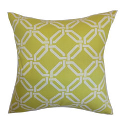 "The Pillow Collection - Ulei Geometric Pillow Lime 20"" x 20"" - Provide sophistication to your living room, bedroom or office with this throw pillow. This accent pillow features an intricate chain link print against a lime green fabric. This 100% soft cotton pillow gives a contemporary twist, especially when it's paired with bold-hued solids. This 20"" pillow suits casual and formal settings. Hidden zipper closure for easy cover removal.  Knife edge finish on all four sides.  Reversible pillow with the same fabric on the back side.  Spot cleaning suggested."