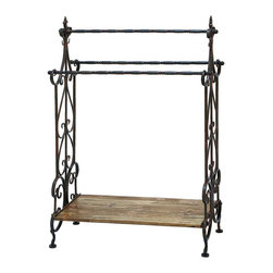 Benzara - Traditional Wooden and Metal Towel Rack in Black Finish - Add a stylish touch to your bathroom setting with this metal towel rack that makes an ideal choice of accessory for every household. Flaunting fine attention to details and a traditional design, this wooden and metal towel rack can hold several towels simultaneously. A blend of subtle curves and clean lines add an appealing touch to its design. Available in black, this wooden and metal towel rack is manufactured from top quality wood and metal that ensures lasting performance and a sturdy structure. It comes with a dimension of 41 in.  H x 28 in.  W x 13 in.  D.