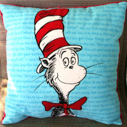 Dr. Seuss Cat in the Hat Child's Pillow by Kreations by Kona - I love the text in the background of this pillow — and the fact that the other side is a bright, cheery red.