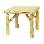 Fireside Lodge Furniture - Cedar Northern White Game Log Table in Standa - Finish: 42 in. L x 42 in. W - Liquid GlassCedar Collection. Northern White Cedar logs are hand peeled to accentuate their natural character and beauty. Clear coat catalyzed lacquer finish for extra durability. 2-Year limited warranty. 32 in. L x 32 in. W x 30 in. H (75 lbs.). 36 in. L x 36 in. W x 30 in. H (80 lbs.). 42 in. L x 42 in. W x 30 in. H (95 lbs.)