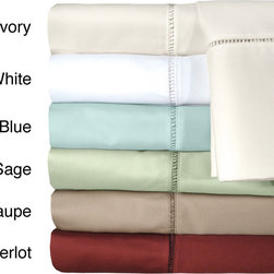 Veratex - Grand Luxe Linford Egyptian Cotton Sateen Deep Pocket 500 Thread Count Sheet Set - Enjoy the luxurious feel that comes with this 500-thread count Egyptian cotton sheet set from Grand Luxe. Available in several different solid colors,these sheets have a sateen weave and a lovely embroidered hem stitch on each piece.