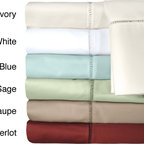 Grand Luxe - Grand Luxe Linford Egyptian Cotton Sateen Deep Pocket 500 Thread Count Sheet Set - Enjoy the luxurious feel that comes with this 500-thread count Egyptian cotton sheet set from Grand Luxe. Available in several different solid colors,these sheets have a sateen weave and a lovely embroidered hem stitch on each piece.