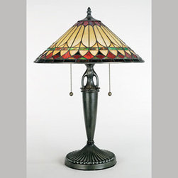 Quoizel Lighting - Quoizel TF6821VB Tiffany 2 Light Table Lamp, Vintage Bronze - This piece has has a handcrafted, genuine art glass shade in hues of cream, amber, crimson and emerald, which work together to create a harmonious palette. The base is finished in an authentic bronze patina.