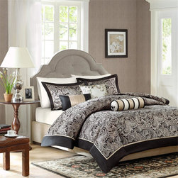 """Madison Park - Madison Park Aubrey 6 Piece Duvet Cover Set - If classic is your style, Aubrey is perfect for you. The jacquard weave is inspired from an updated paisley motif and is woven in a beautiful combination of black and silver. The duvet cover and shams offer beautiful details with a 2"""" flange and 1/2"""" flat piping in black. Duvet & Sham: 100% polyester jacquard with 1/2"""" poly shamuse piping, 100% polyester brushed fabric reverse Square Pillow 18"""": 100% polyester jacquard on face and polyoni back, polyester filling Oblong Pillow: 100% polyester cover, polyester filling Neckroll Pillow: 100% polyester cover, polyester filling"""