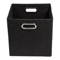 Modern Littles - Smarty Pants Solid Black Folding Storage Bin - Give your little man his own place for his toys. Slides easily under a bed to keep his room neat and tidy. When not in use, it folds flat and reinforced handles make it simple to carry.