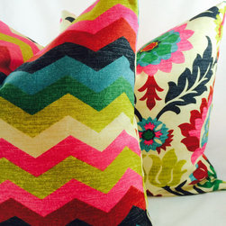 Waverly Santa Maria Desert Flower and Panama Wave Pillow Cover by My Pillow Shop - I love the idea of combining two funky prints in one pillow.
