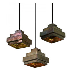 Industrial Copper Shade Pendant Lighting Square - The iridescent sheen is created by firing the stoneware shades at 1200°C using a top-secret glaze containing minerals and precious metals.The end result is a striking color change effect reminiscent of peacock feathers or oil slicks on water.The shade reflects and refracts an extraordinary spectrum of colors both internally and when lit from outside.