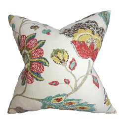 "The Pillow Collection - Jora Floral Pillow Red 18"" x 18"" - Brighten up your bedroom, living room or lounge area with this floral throw pillow. The bright floral pattern comes in shades of red, green, yellow, blue and set against a white background. Made from a blend of 55% linen and 45% rayon, this 18"" pillow lends comfort and style to your interiors. Combine this square pillow with solids and other patterns for a unique look. Hidden zipper closure for easy cover removal.  Knife edge finish on all four sides.  Reversible pillow with the same fabric on the back side.  Spot cleaning suggested."