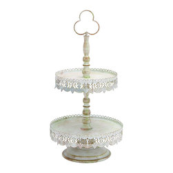 Benzara - Old Look Victorian Two Tier Treat Tray - Throwing a garden party or shower? Use a lovely two tier tray for your cake or dissert. This white metal tray is the perfect backdrop for letting your cupcakes and cookies steal the show. The sturdy base will keep it balanced no matter which delicious desserts go first. Bring Victorian charm to your backyard and looks as though it has seen many wonderful parties.