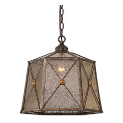 Uttermost - Basiliano 1-Light Pendant - If you want an antique look in a modern pendant light, take a look. It's fashioned from aged-mercury glass with antiqued silver metal, and shine from within with one 110-watt lightbulb.