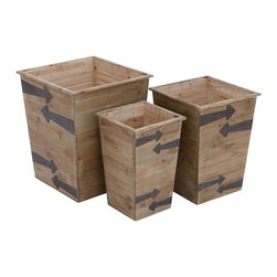 Tapered Wood Planters, Large, Set of 3 - I love the arrows on this set of three planters. They're decorative enough to use indoors too.