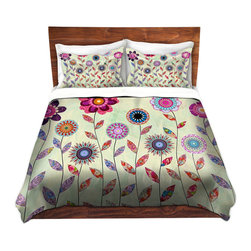 DiaNoche Designs - Duvet Cover Twill - Purple Fowers - Lightweight and soft brushed twill Duvet Cover sizes Twin, Queen, King.  SHAMS NOT INCLUDED.  This duvet is designed to wash upon arrival for maximum softness.   Each duvet starts by looming the fabric and cutting to the size ordered.  The Image is printed and your Duvet Cover is meticulously sewn together with ties in each corner and a concealed zip closure.  All in the USA!!  Poly top with a Cotton Poly underside.  Dye Sublimation printing permanently adheres the ink to the material for long life and durability. Printed top, cream colored bottom, Machine Washable, Product may vary slightly from image.