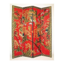 Wayborn - 4 Panel Asian Floor Screen - Traditional craftsmanship handed down through ages is evident in this classic Asian screen. The four-panel design creates a beautiful scene that winds back and forth across each section. It's a vibrant accent piece with its beautiful red background and gold-tone border. 4 Panels. Hand painted. Cedar plywood frame. Crackle finish. 64 in. W x 72 in. H (54 lbs.)Hand painted screens start with a cedar plywood frame covered in a cheesecloth material. Then layer after layer of plaster is applied; each layer must dry before another layer can be applied. After all the plaster has been applied several coats of lacquer is put over the entire surface. At that time the artist begins to sketch out the painting directly on the panels of the screen and begins painting the design with water based paint. Each one of these screens has its own characteristics and is truly a work of art.