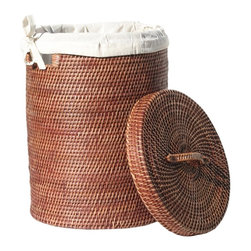 Eco Displayware - Lined Rattan Hamper in Brown - Great for closet, bath, pantry, office or toy and game storage. Earth friendly. 16.25 in. Dia. x 21.5 in. H (20.64 lbs.)These natural colored baskets add warmth and charm and keep you organized.