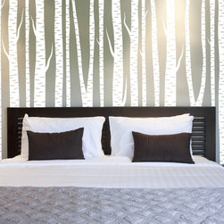 "Imprinted Designs - Large Wall Birch Tree Wall Decal Forest Vinyl Sticker Removable - This listing is for 10 72"" trees, they can be applied closely together, or spread out as you like them."