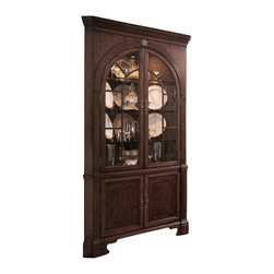 American Drew - American Drew Cherry Grove Corner China Cabinet in Antique Cherry - This Corner China Cabinet is made with two base doors, two doors on the deck, an adjacent shelf, and three adjacent glass shelves. In addition to these functional aspects of the cabinet, there are brilliant aesthetic components to it as well. The classic antique cherry color finish truly allows it to stand out and the traditional style makes it perfect for many environments. Alder solids and cherry veneers along with select hardwoods further enhance the look of this amazing cabinet.