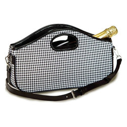 "Picnic Plus - Nola Wine Clutch , Houndstooth - Picnic Plus Nola Wine Bottle Clutch, Houndstooth. Color/Design: Houndstooth; Perfect accessory for toting a full size wine, or champagne bottle; With the fully zippered top closure; Insulated lining; Adjustable, detachable shoulder strap; Inside zippered pocket hold keys, ID, wine opener and more; Patent Pending. Dimensions: 14""W x 4""D x 8""8"