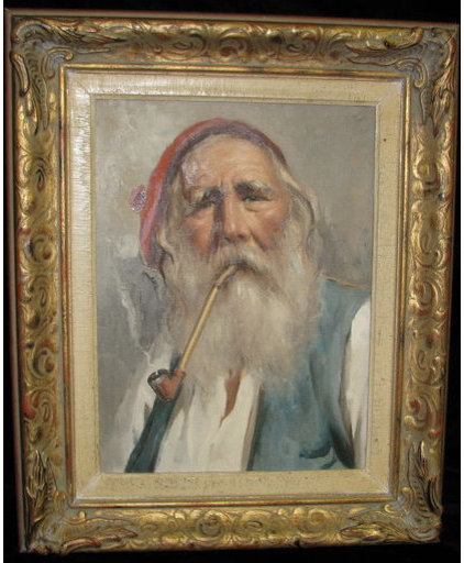Artwork Elderly Man with Pipe Painting