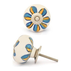 """Knobco - Ceramic Knob, Turquoise and Yellow Flowers with White base - Turquoise and Yellow Flowers with White base Ceramic knob, perfect for your kitchen and bathroom cabinets! The knob is 1.8"""" in diameter and includes screws for installation."""