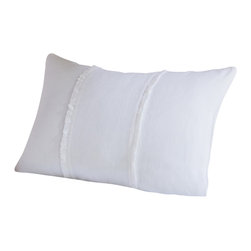 "Taylor Linens - Hampton White Boudoir Pillow - One of our most popular collections, the Hampton collection features high quality linen and linen voile, clean lines, feminine details, and mother of pearl buttons. 100% Linen Voile. Machine Washable. White. Filled with a 100% White Feather and Down Pillow. Please note: this White Boudoir Pillow is currently only pictured in Natural. 13""x18"""