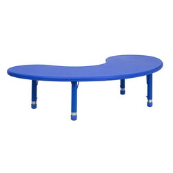 Flash Furniture - Flash Furniture 35 x 65 Height Adjustable Half-Moon Blue Plastic Activity Table - Kids activity tables are excellent for early childhood development. The primary colors make learning and play time exciting when several colors are arranged in the classroom. This durable table features a plastic top with steel welding underneath along with adjustable steel legs that is sure to last throughout the years. [YU-YCX-004-2-MOON-TBL-BLUE-GG]