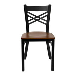 Flash Furniture - Flash Furniture Hercules Series Black Back Metal Chair in Cherry - Flash Furniture - Dining Chairs - XU6FOBXBKCHYWGG - Provide your customers with the ultimate dining experience by offering great food service and attractive furnishings. This heavy duty commercial metal chair is ideal for Restaurants Hotels Bars Lounges and in the Home. Whether you are setting up a new facility or in need of a upgrade this attractive chair will complement any environment. This metal chair is lightweight and will make it easy to move around. This easy to clean chair will complement any environment to fill the void in your decor. [XU-6FOBXBK-CHYW-GG]