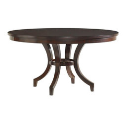 Lexington - Lexington Kensington Place Beverly Glen Round Dining Table - This stunning 16-piece radial matched Ribbon Stripe Mahogany veneer top, supported by tapered saber legs makes an elegant addition to any space.