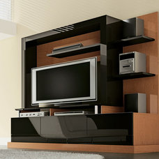 Contemporary Furniture Esplendore Imbuia-Black Wall Unit