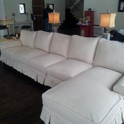 Custom slipcovers - Custom slipcovered sectional sofa in linen. Cindy Krenz