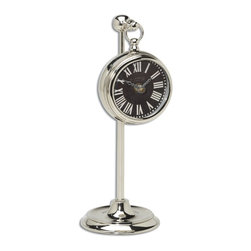 """Uttermost - Uttermost Pocket Watch Nickel Marchant Black X-17060 - Nickel plated brass pocket watch replica that hangs on an adjustable telescopic stand. Requires 1-AA battery. Stand adjusts from 8"""" to 12 1/2"""" in height."""