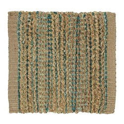 "Jarvis Teal 12"" sq. Rug Swatch - Rustic undyed jute and soft teal-colored yarn are handwoven on traditional pit loomed to create a rug with exceptional texture and dimensional color."