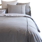 Taylor Linens - Charleston Grey Queen Duvet Cover - Looking for bedding that moves from vintage to modern in no time flat? Cross it off your list! Inspired by old-fashioned cross-stitch, the gray and white geometrics look thoroughly modern for go-with-anything ease. Add to that the crisp trim detail and you can hold your head up in style.