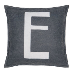 "Eastern Accents - Spell It Out E Pillow - Featuring a white ""E"" on a grey background, the Spell It Out felt pillow brings a typographic touch to a sofa, chair or bed. This on-trend accent creates a personalized look when displayed individually or with other letters and symbols (available separately). Handcrafted for the modern home, this decorative pillow charms with its unique fabrication, simple design and neutral color palette. 16"" Square; Hand-cut felt piecing; High quality polyester fiber pillow insert included; Zipper closure"