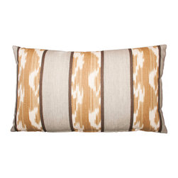 Designer Fluff - Stripe Ikat Pillow, 15x25 - This handmade linen pillow sports a striking ikat design in tranquil neutral hues. The pattern adorns both sides and is matched at the seams, so the design is continuous. A concealed zipper keeps the feather/down insert discreetly in place, so nothing detracts from the fabric's graphic appeal.