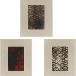 Paragon Decor - Hollywood Harlequin Set of 3 Artwork - Exclusive Mixed Media with Patterned Mirror