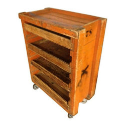 """Pre-owned Industrial Railway Cart Storage Cabinet on Wheels - An industrial, wooden railway cart on wheels, in original condition. The cart has its orange paint, and bold graphic number on the sides. The shelf has four, sliding, plywood drawers for storage. It moves easily on 5"""", pivoting, hard rubber wheels. Sturdy and solid, it was probably a mobile repair cart that stored tools for quick fixes in the rail yard. Imagine the uses in the home or apartment for bathroom/towel storage, for portable summer bar duty, for small kitchen appliances and utensil storage, or for flatscreen TV and media components!"""