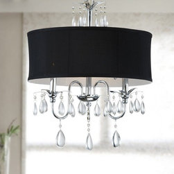 Otis Designs - Chrome 3-light Black Shade Crystal Chandelier - Give your living room a sophisticated finish by crowning it with this elegant shade and crystal chandelier. This chandelier has a sleek black shade complemented with a set of light catching crystals to amplify the luminance of its three lights.