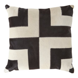 Haircalf Geometric Patchwork Pillow - Geometric accessories bring so much personality to a space. This black and white haircalf pillow would look great in a living room or bedroom.