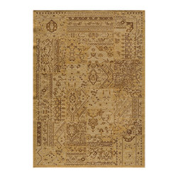 Momeni - Vintage Sand - VIN-5 - Rugs by Momeni - Meant to emulate the over-dyed and patchwork handknotted rugs that are so popular today, Vintage interprets this look in a power-loomed quality with hand-sheared finishing that gives each design the look of a distressed, antiqued piece. Made of 100% NZ Wool. Due to the hand sheering of this product and in order to enhance the beauty of this collection each piece may vary slightly.